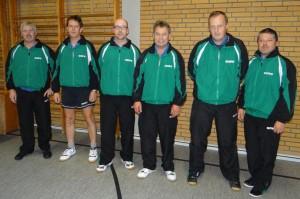 Erste Tischtennis-Herren von links nach rechts : Jürgen Pickny, Christian Kunstmann, Marco Schulze, Friedhelm Schulz, Harald Knüdel und Frank Tschampel.