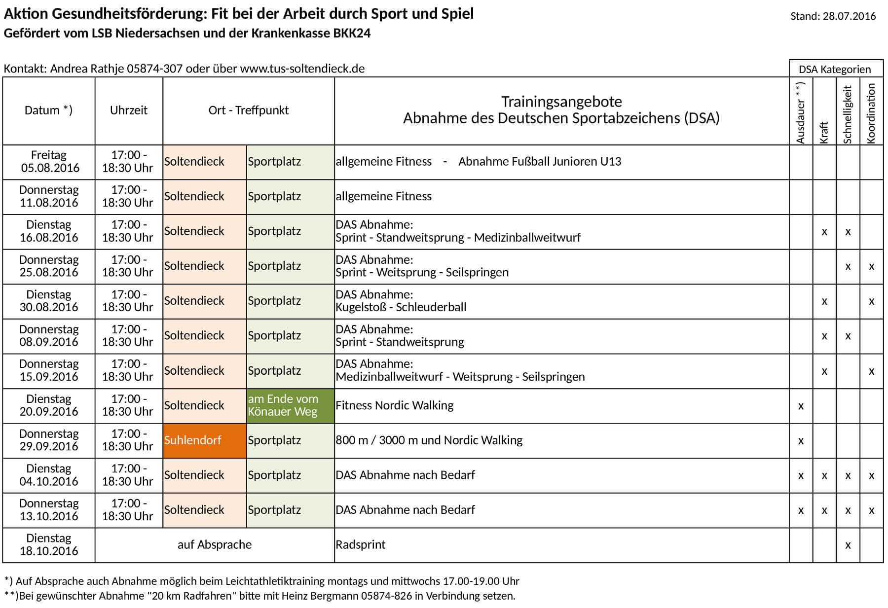 Sportabzeichen 2016 - Wochenplan