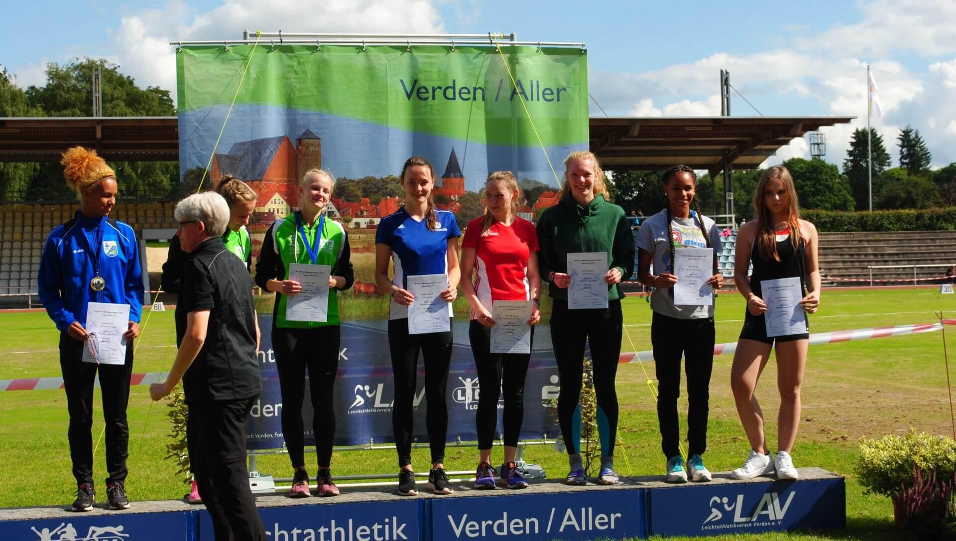 Siegerehrung 200 m der WJ U20
